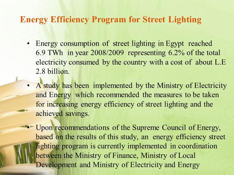 Energy Efficiency Program for Street Lighting Energy consumption of street lighting in Egypt reached 6.9 TWh in year 2008/2009 representing 6.2% of th