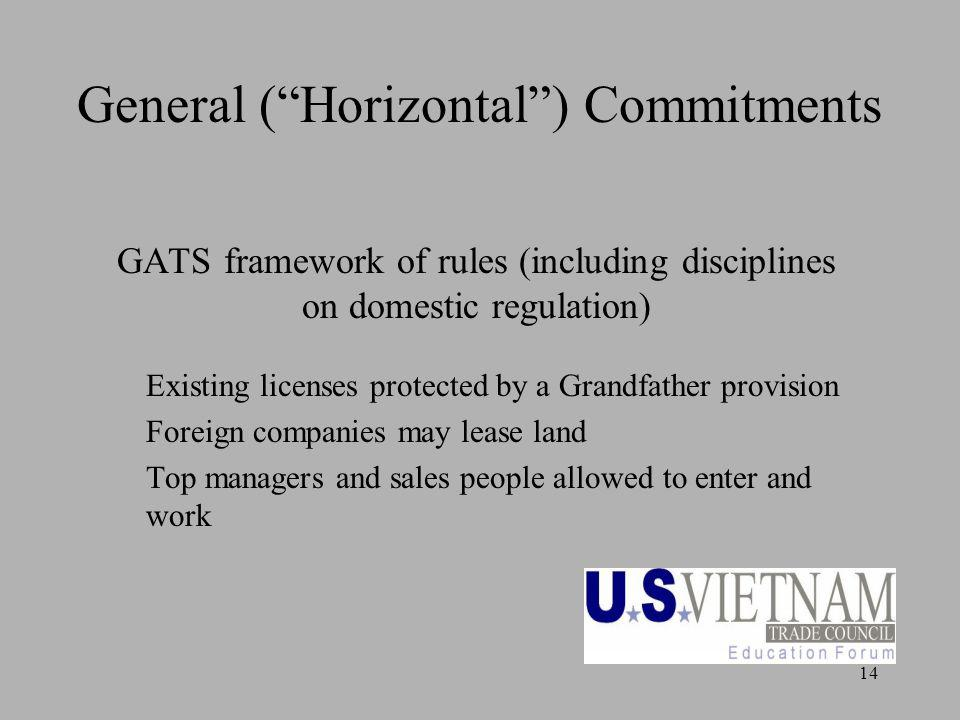 14 General (Horizontal) Commitments GATS framework of rules (including disciplines on domestic regulation) Existing licenses protected by a Grandfather provision Foreign companies may lease land Top managers and sales people allowed to enter and work