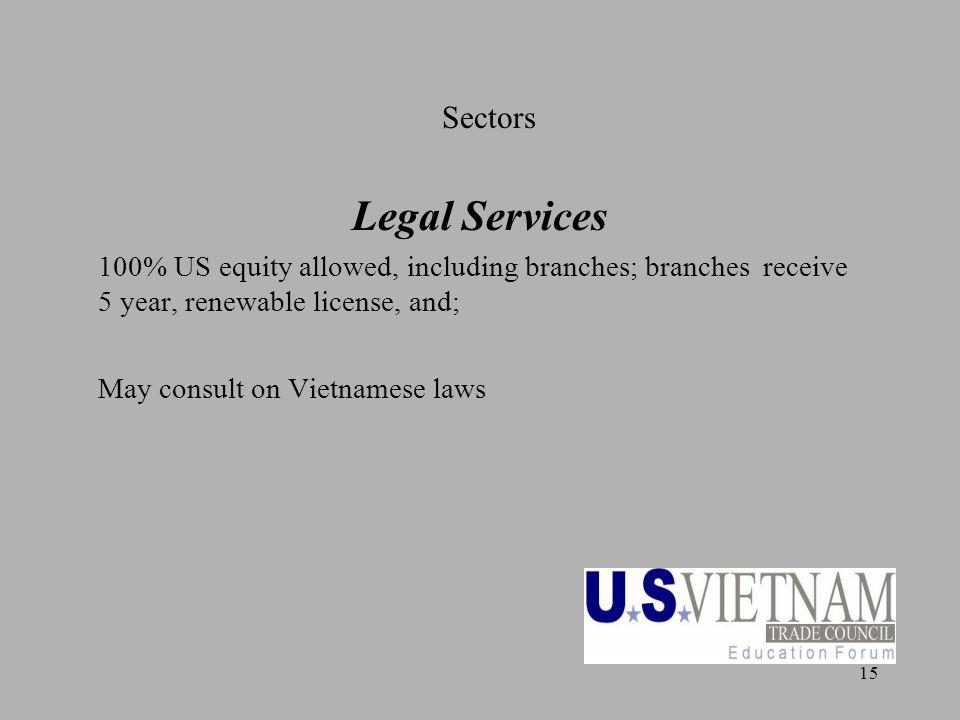 15 Sectors Legal Services 100% US equity allowed, including branches; branches receive 5 year, renewable license, and; May consult on Vietnamese laws