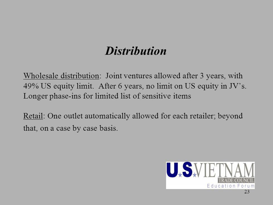 23 Distribution Wholesale distribution: Joint ventures allowed after 3 years, with 49% US equity limit.