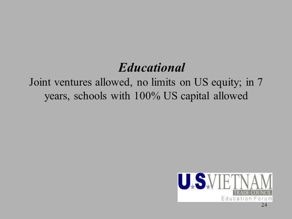 24 Educational Joint ventures allowed, no limits on US equity; in 7 years, schools with 100% US capital allowed