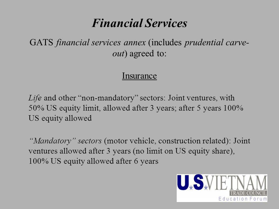 25 Financial Services GATS financial services annex (includes prudential carve- out) agreed to: Insurance Life and other non-mandatory sectors: Joint