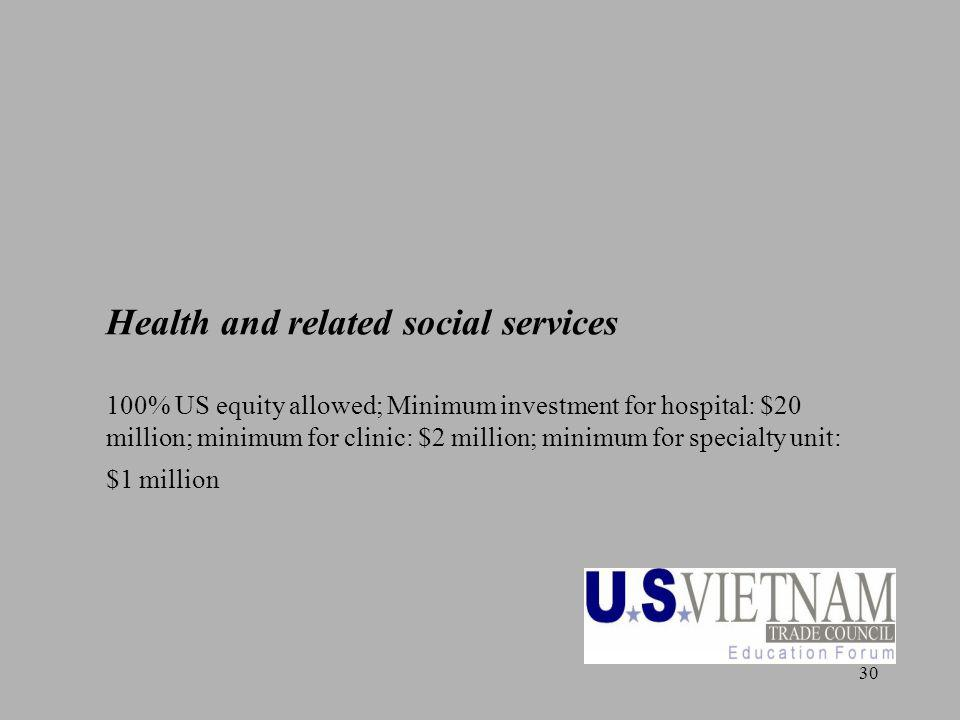 30 Health and related social services 100% US equity allowed; Minimum investment for hospital: $20 million; minimum for clinic: $2 million; minimum fo