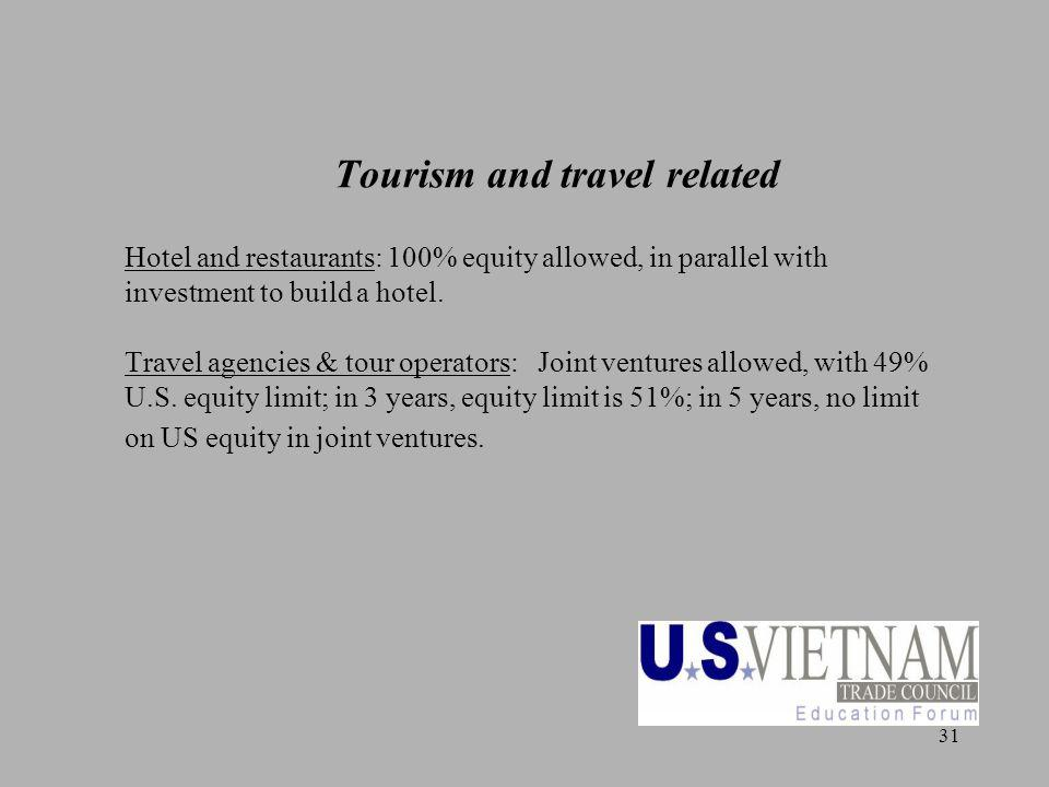 31 Tourism and travel related Hotel and restaurants: 100% equity allowed, in parallel with investment to build a hotel. Travel agencies & tour operato