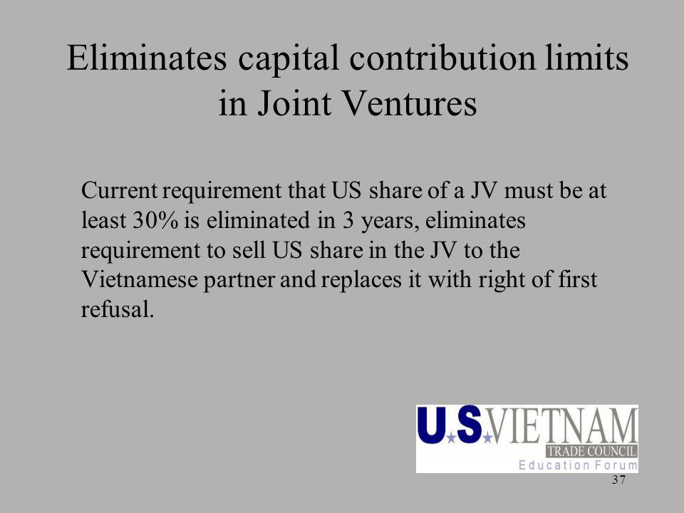 37 Eliminates capital contribution limits in Joint Ventures Current requirement that US share of a JV must be at least 30% is eliminated in 3 years, e