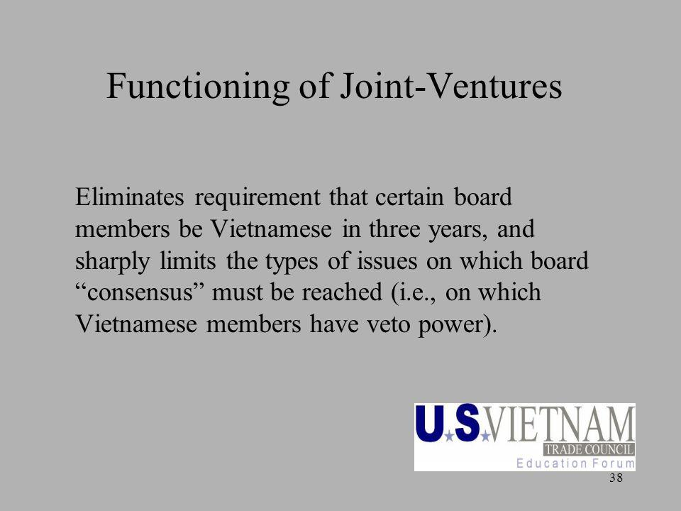 38 Functioning of Joint-Ventures Eliminates requirement that certain board members be Vietnamese in three years, and sharply limits the types of issue