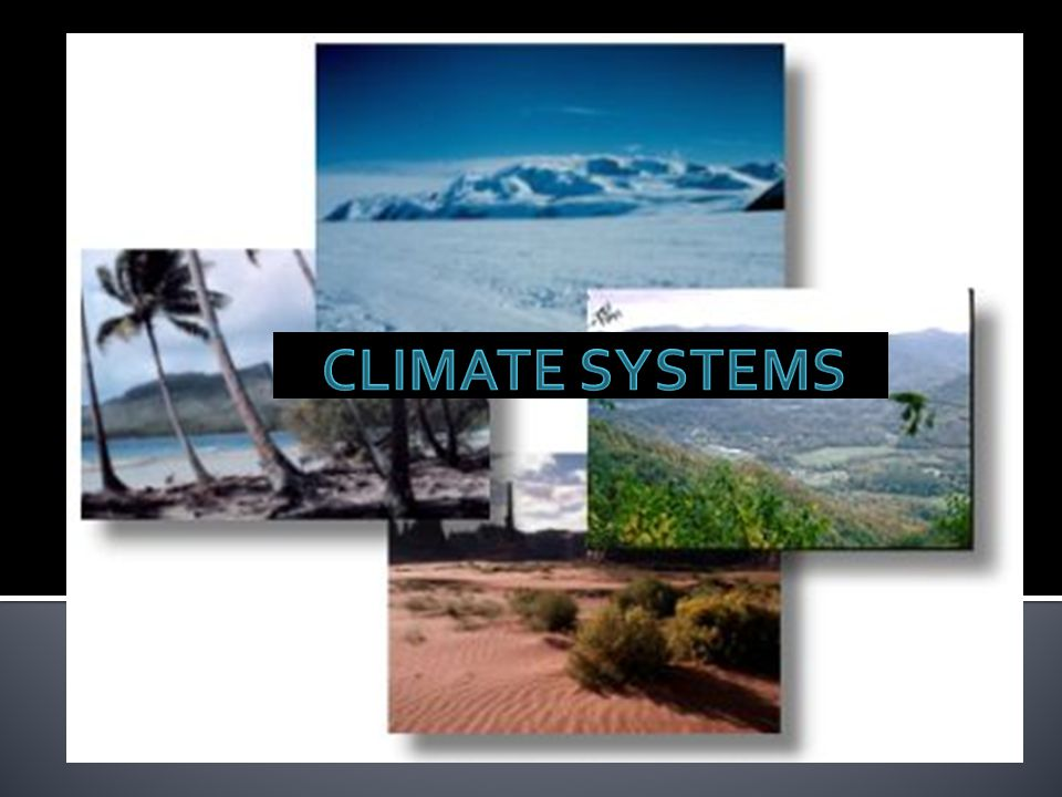 Liquid water, water vapour and ice Water cycle Factors that affect climate Presence of large bodies of water Presence of ocean or air currents