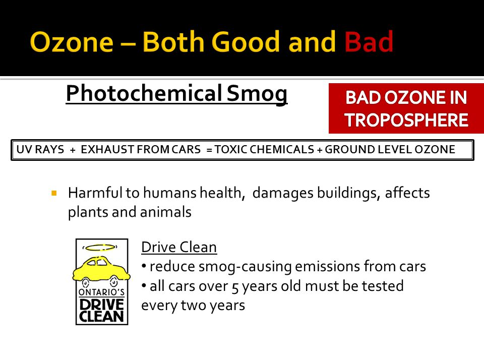 Harmful to humans health, damages buildings, affects plants and animals UV RAYS + EXHAUST FROM CARS = TOXIC CHEMICALS + GROUND LEVEL OZONE Photochemic