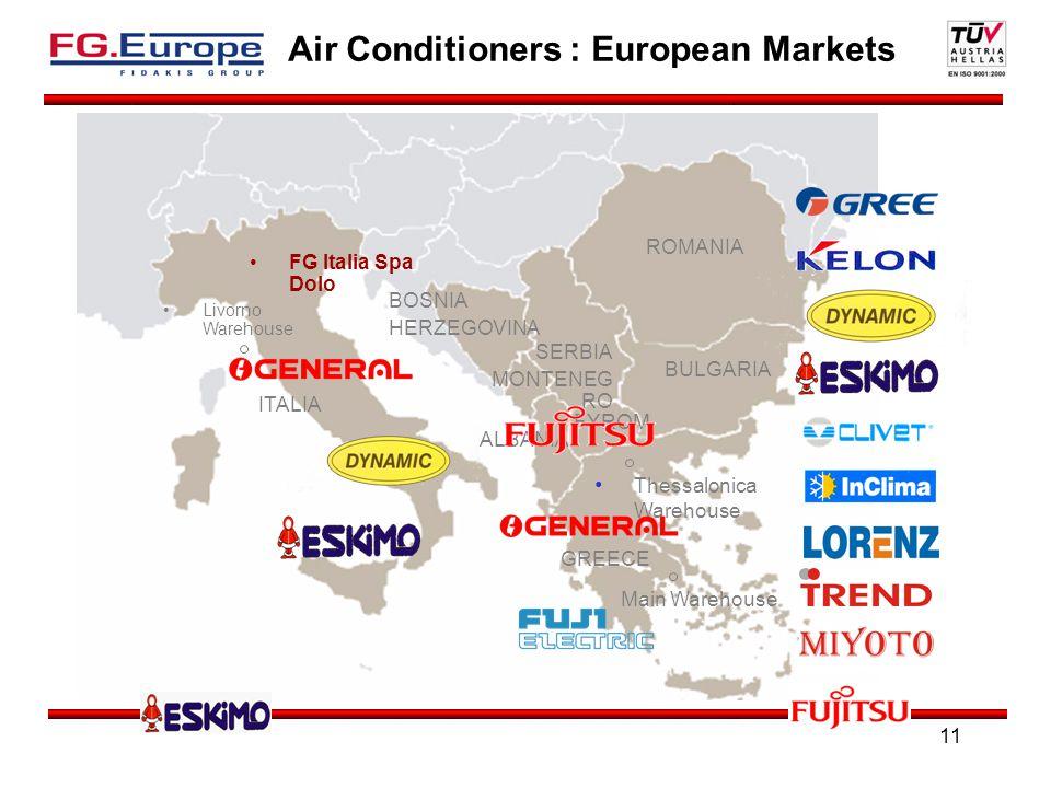 11 Air Conditioners : European Markets Livorno Warehouse Main Warehouse Thessalonica Warehouse ITALIA GREECE ALBANIA SERBIA MONTENEG RO FYROM BULGARIA ROMANIA BOSNIA HERZEGOVINA FG Italia Spa Dolo
