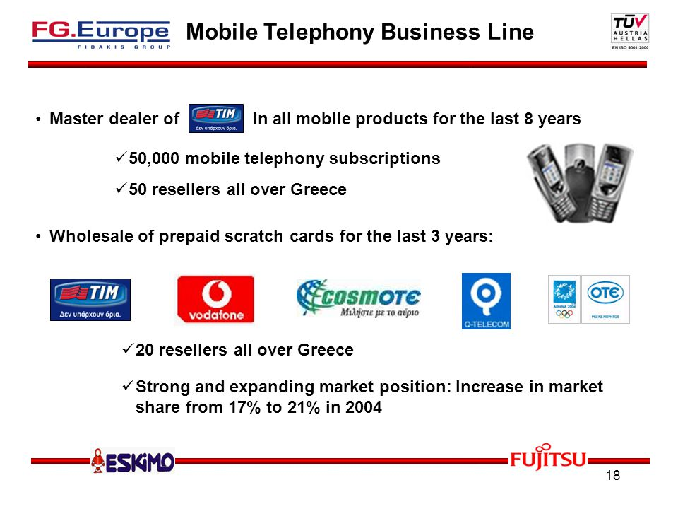 18 Mobile Telephony Business Line Master dealer of in all mobile products for the last 8 years Wholesale of prepaid scratch cards for the last 3 years: 50,000 mobile telephony subscriptions 50 resellers all over Greece 20 resellers all over Greece Strong and expanding market position: Increase in market share from 17% to 21% in 2004