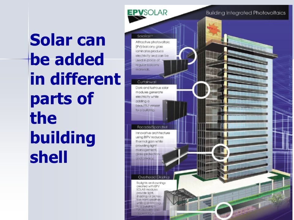 Solar can be added in different parts of the building shell