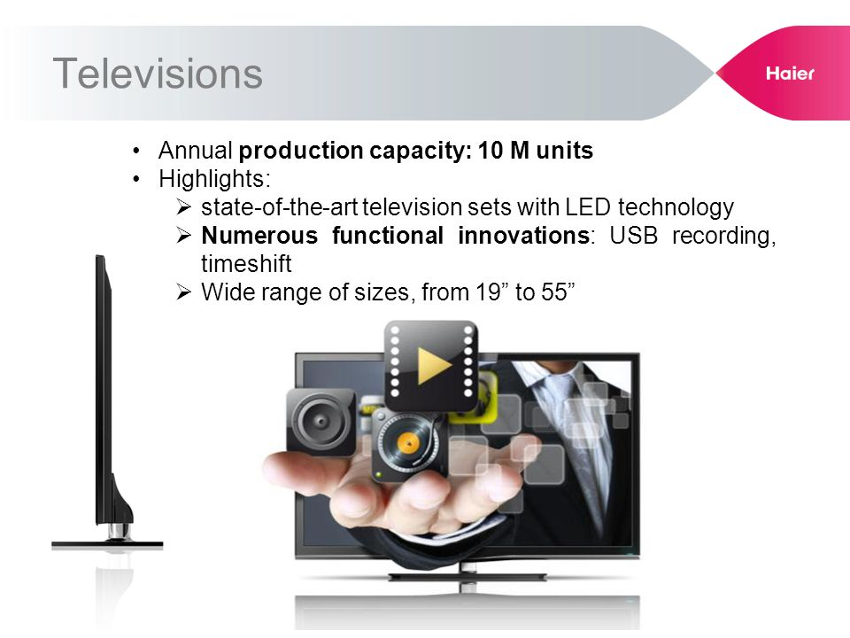 Annual production capacity: 10 M units Highlights: state-of-the-art television sets with LED technology Numerous functional innovations: USB recording, timeshift Wide range of sizes, from 19 to 55 Televisions