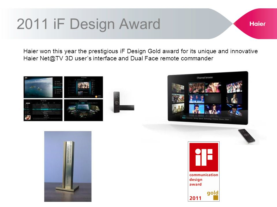 2011 iF Design Award Haier won this year the prestigious iF Design Gold award for its unique and innovative Haier Net@TV 3D users interface and Dual Face remote commander