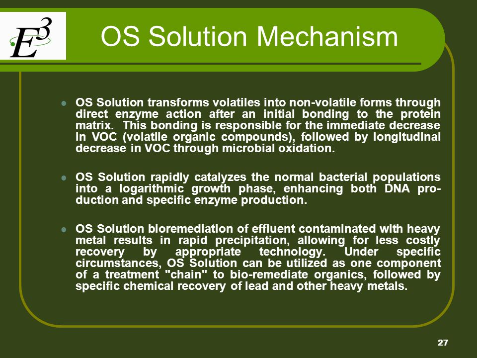 27 OS Solution Mechanism OS Solution transforms volatiles into non-volatile forms through direct enzyme action after an initial bonding to the protein matrix.