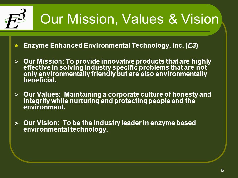 5 Our Mission, Values & Vision Enzyme Enhanced Environmental Technology, Inc. (E3) Our Mission: To provide innovative products that are highly effecti