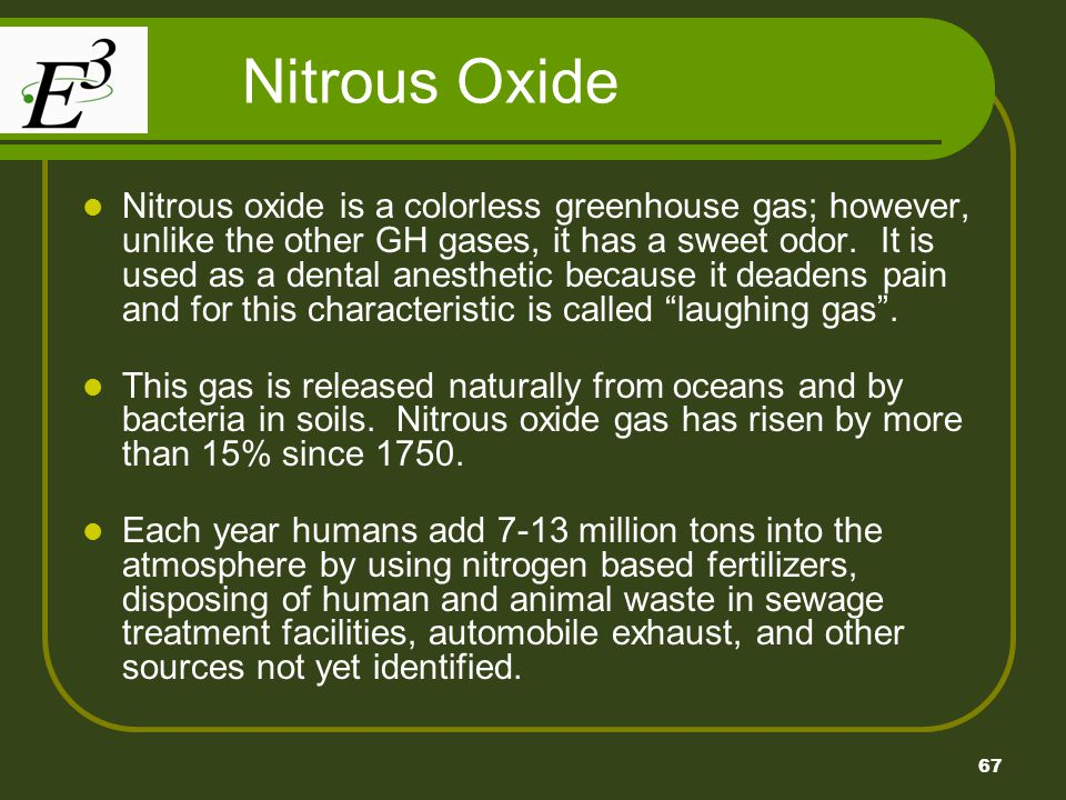 67 Nitrous Oxide Nitrous oxide is a colorless greenhouse gas; however, unlike the other GH gases, it has a sweet odor.