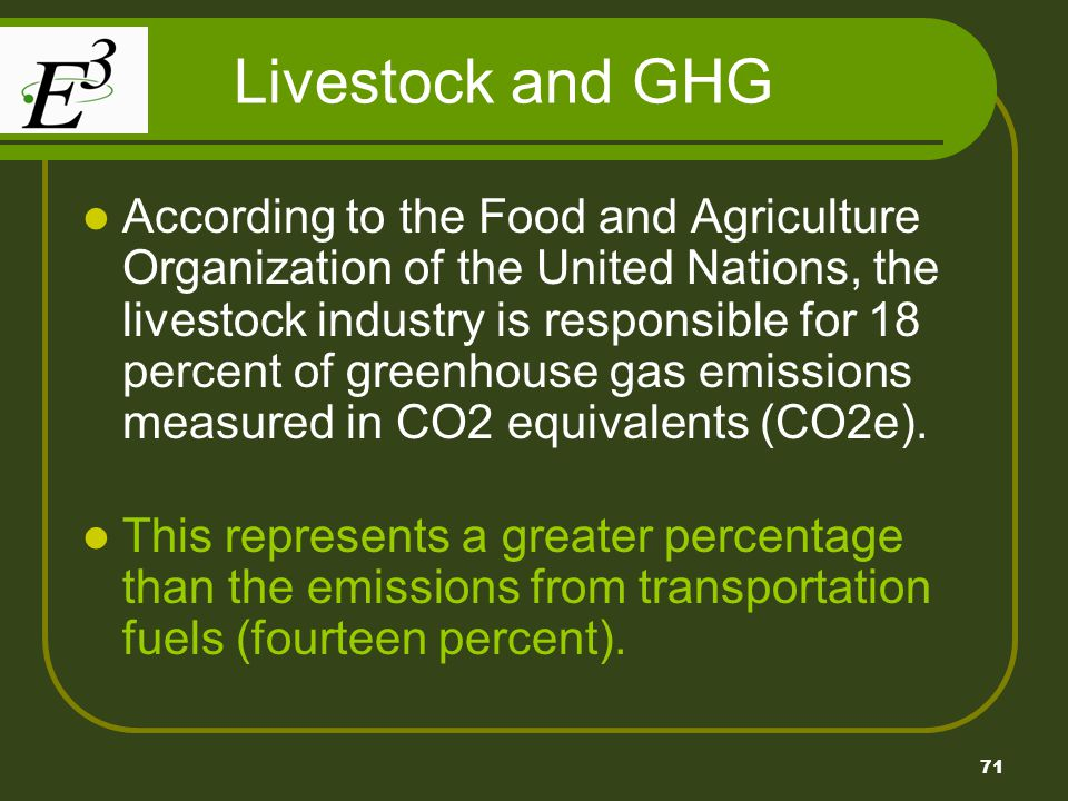 71 Livestock and GHG According to the Food and Agriculture Organization of the United Nations, the livestock industry is responsible for 18 percent of