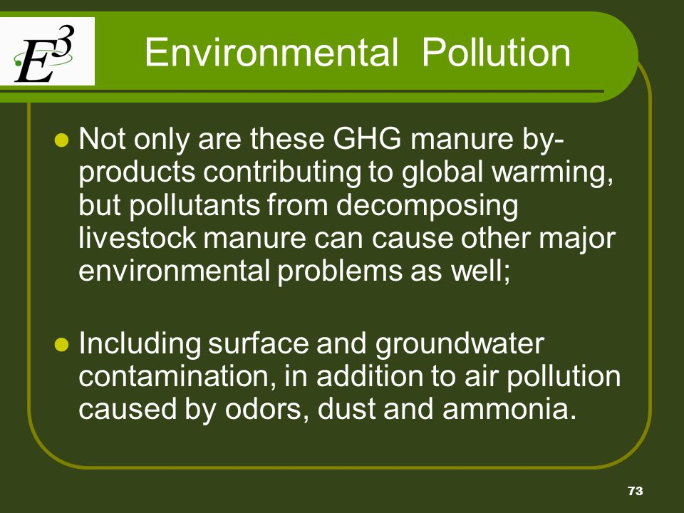 73 Environmental Pollution Not only are these GHG manure by- products contributing to global warming, but pollutants from decomposing livestock manure can cause other major environmental problems as well; Including surface and groundwater contamination, in addition to air pollution caused by odors, dust and ammonia.