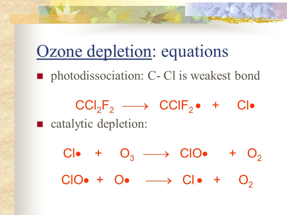 Ozone depletion Ozone depletion: equations photodissociation: C- Cl is weakest bond CCl 2 F 2 CClF 2 + Cl catalytic depletion: Cl + O 3 ClO + O 2 ClO