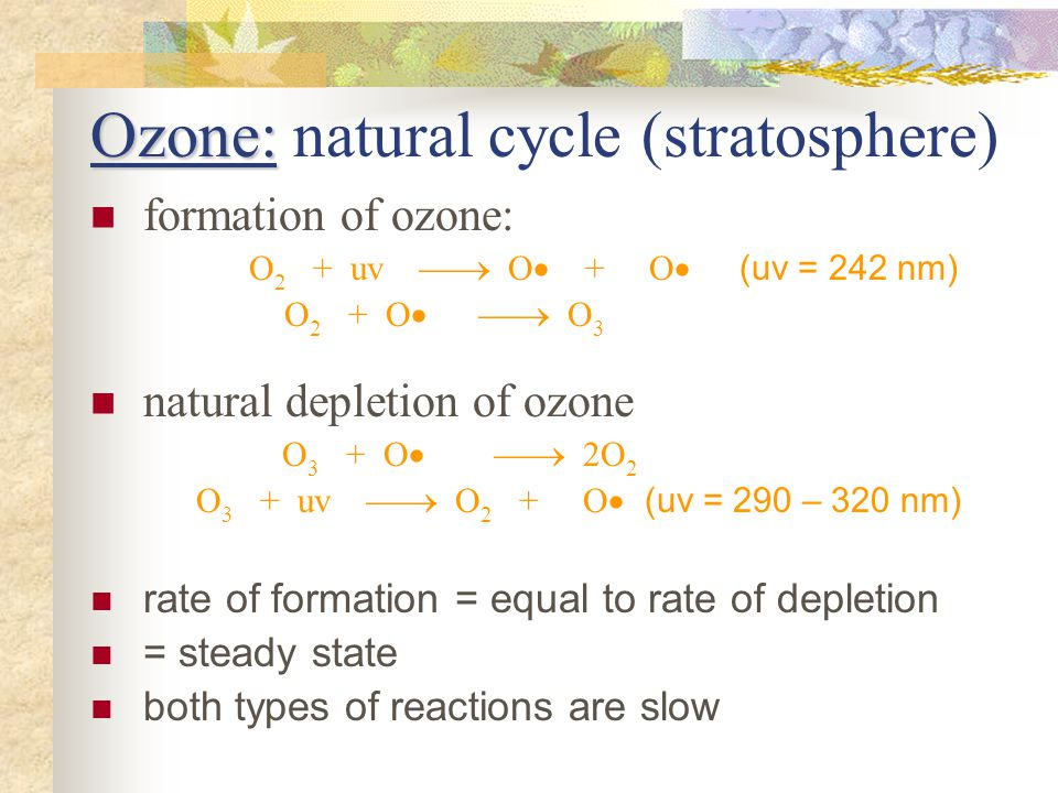 Ozone: Ozone: natural cycle (stratosphere) formation of ozone: O 2 + uv O + O (uv = 242 nm) O 2 + O O 3 natural depletion of ozone O 3 + O 2O 2 O 3 +