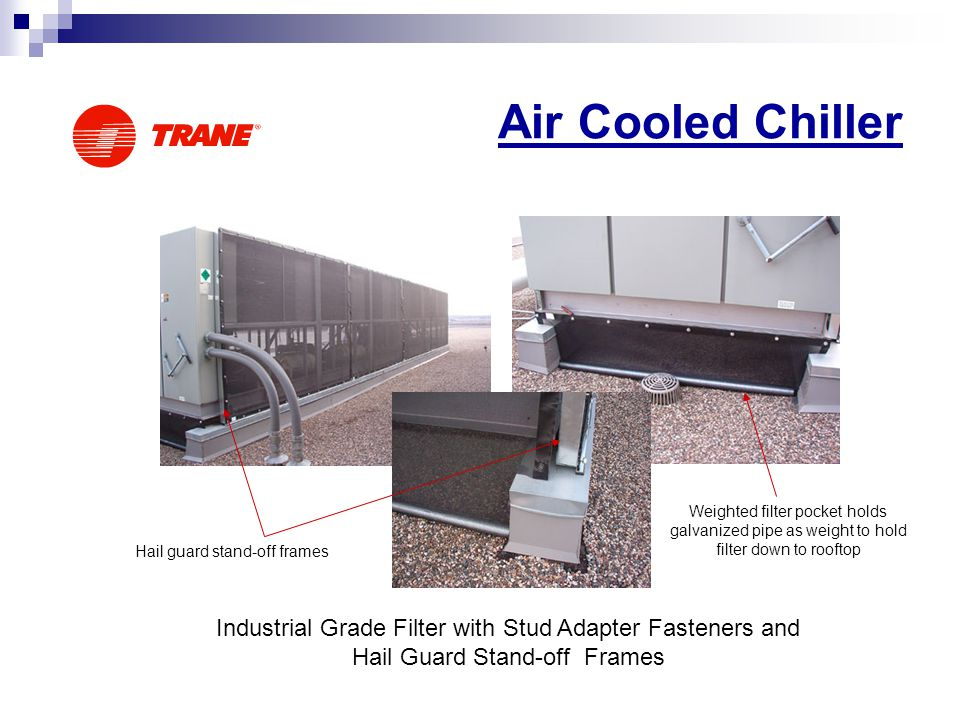 Air Cooled Chiller Industrial Grade Filter with Stud Adapter Fasteners and Hail Guard Stand-off Frames Hail guard stand-off frames Weighted filter poc