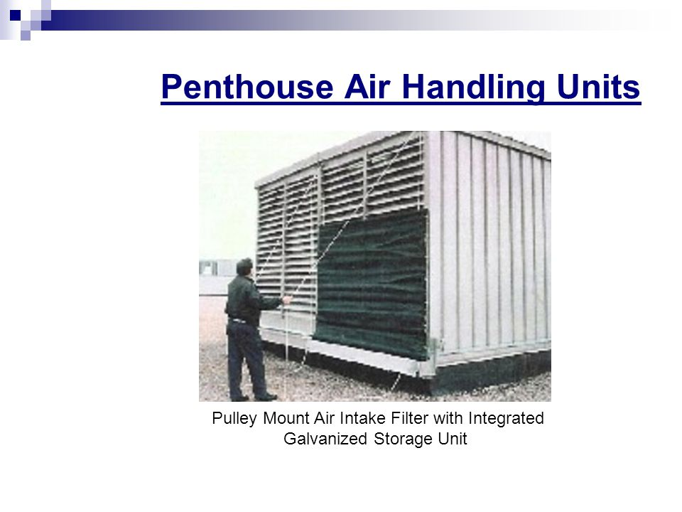 Penthouse Air Handling Units Pulley Mount Air Intake Filter with Integrated Galvanized Storage Unit