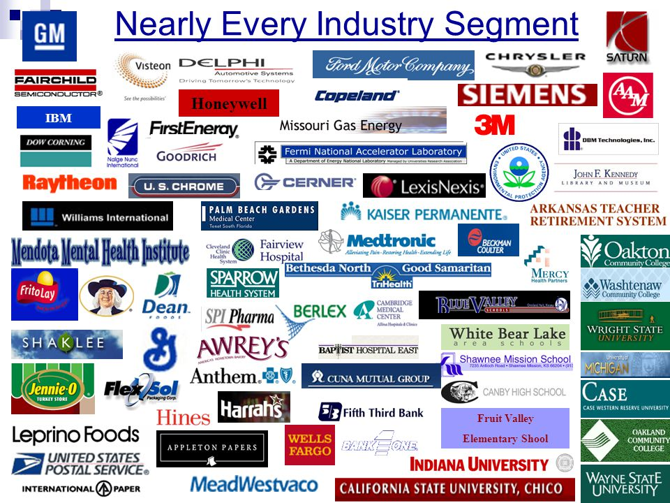 Nearly Every Industry Segment IBM Fruit Valley Elementary School Honeywell IBM Fruit Valley Elementary Shool