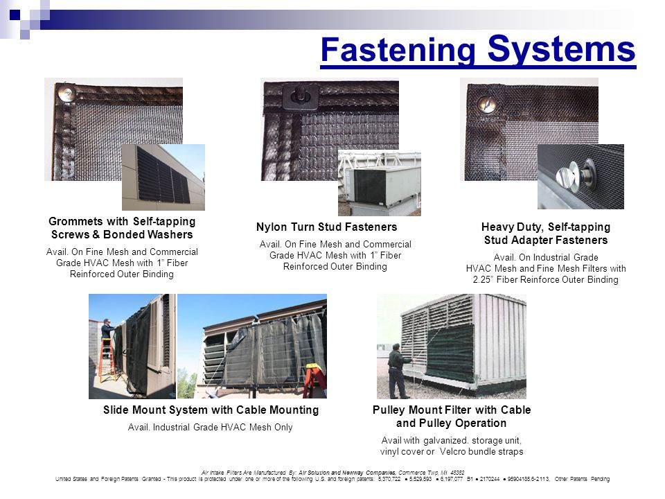 Fastening Systems Air Intake Filters Are Manufactured By: Air Solution and Newway Companies, Commerce Twp, MI 48382 United States and Foreign Patents