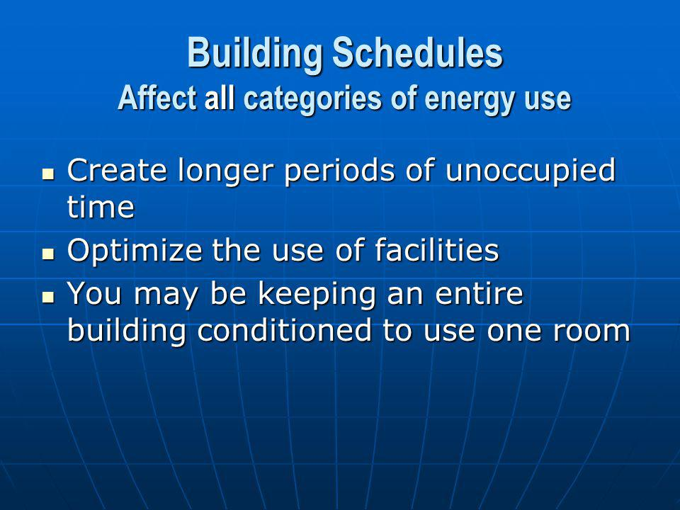Building Schedules Affect all categories of energy use Create longer periods of unoccupied time Create longer periods of unoccupied time Optimize the use of facilities Optimize the use of facilities You may be keeping an entire building conditioned to use one room You may be keeping an entire building conditioned to use one room