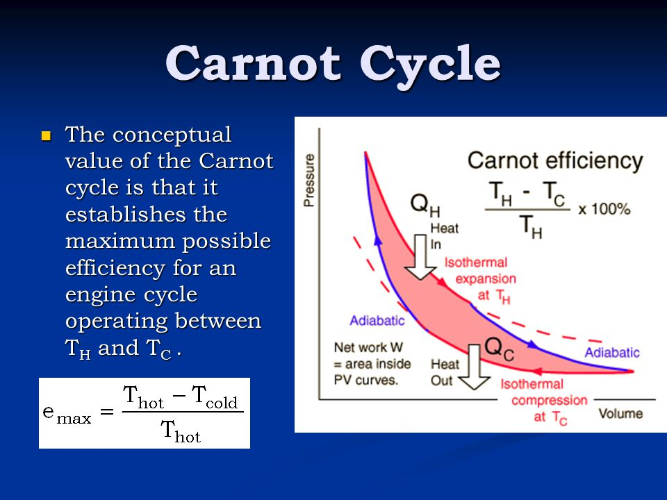 Carnot Cycle The conceptual value of the Carnot cycle is that it establishes the maximum possible efficiency for an engine cycle operating between T H