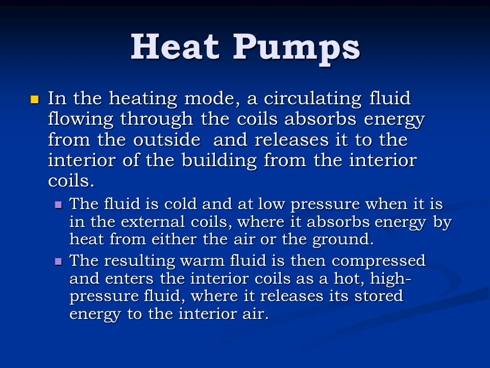 In the heating mode, a circulating fluid flowing through the coils absorbs energy from the outside and releases it to the interior of the building fro