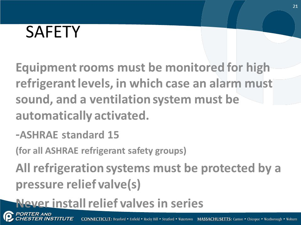 21 SAFETY Equipment rooms must be monitored for high refrigerant levels, in which case an alarm must sound, and a ventilation system must be automatic