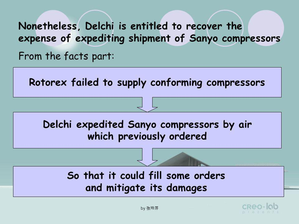by Delchi is not entitled to recover the difference between the contract price and the price in the Sanyo compressors under CISG Art.75CISG Art.75 ( …within a reasonable time after avoidance,the buyer has bought goods in replacement …in the substitute transaction …) In this case the shipment of previously ordered Sanyo compressors Substitute for the nonconforming Rotorex compressors