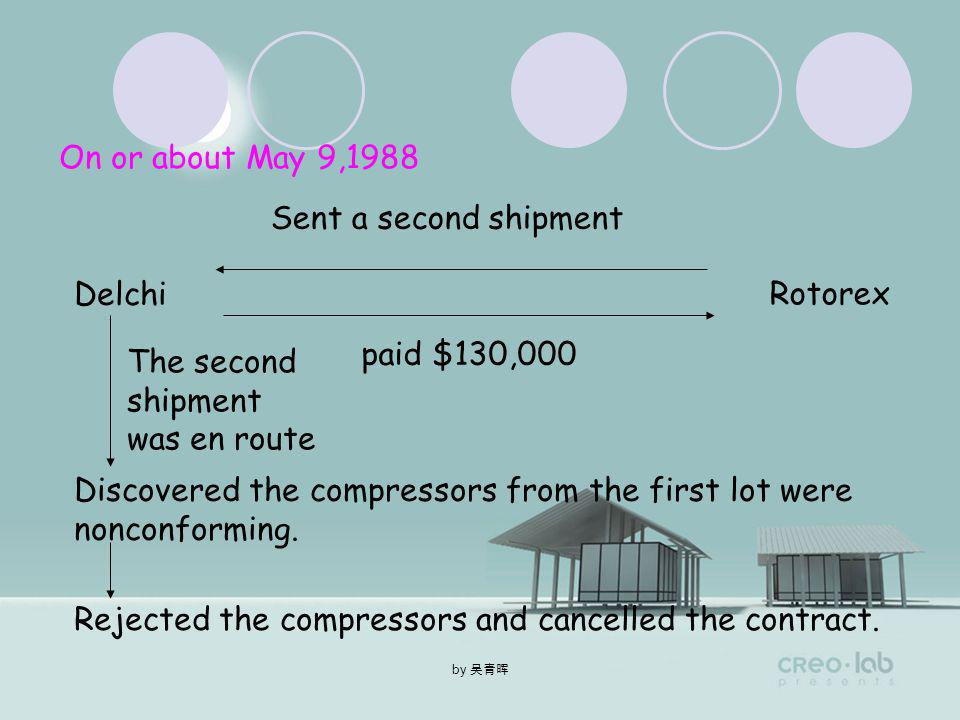 by On March 26,1988 Delchi Rotorex sent a first sea shipment paid $188,000 Spent 18 million lire on shipping and customs duties
