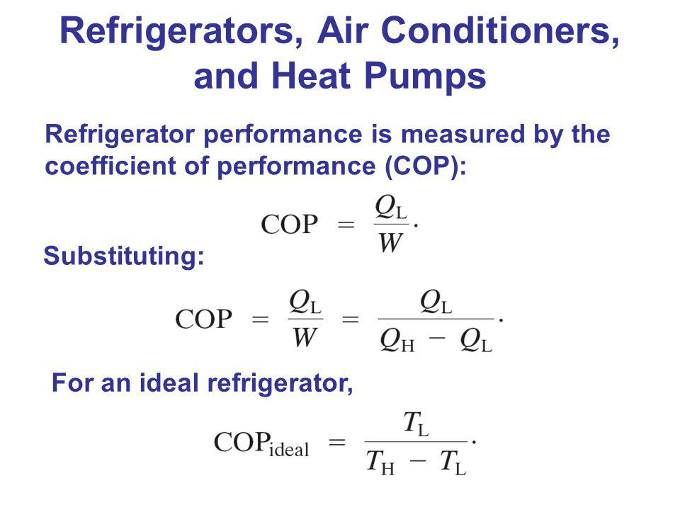 Refrigerator performance is measured by the coefficient of performance (COP): Refrigerators, Air Conditioners, and Heat Pumps Substituting: For an ide