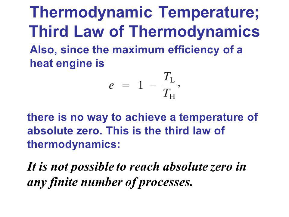 Thermodynamic Temperature; Third Law of Thermodynamics there is no way to achieve a temperature of absolute zero. This is the third law of thermodynam