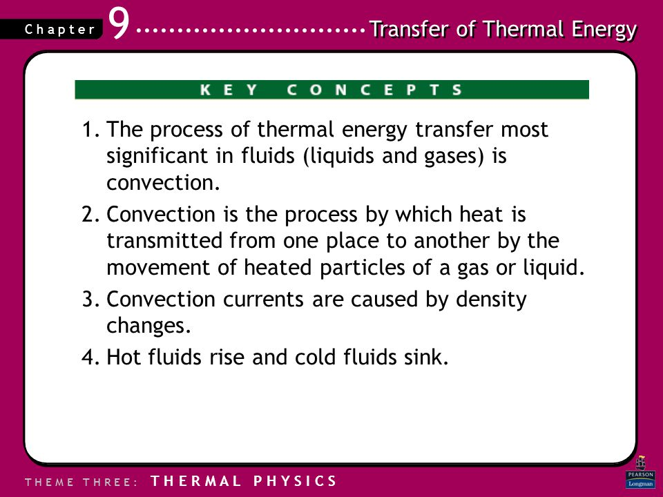 Transfer of Thermal Energy T H E M E T H R E E : T H E R M A L P H Y S I C S C h a p t e r 9 1.The process of thermal energy transfer most significant