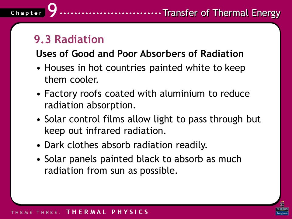Transfer of Thermal Energy T H E M E T H R E E : T H E R M A L P H Y S I C S C h a p t e r 9 9.3 Radiation Uses of Good and Poor Absorbers of Radiatio