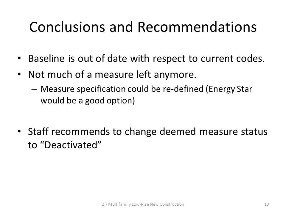 Conclusions and Recommendations Baseline is out of date with respect to current codes.