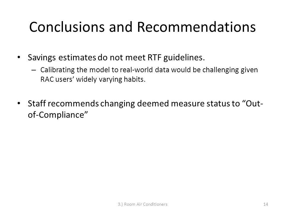 Conclusions and Recommendations Savings estimates do not meet RTF guidelines.