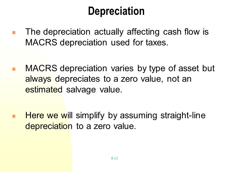 9-15 Depreciation The depreciation actually affecting cash flow is MACRS depreciation used for taxes.
