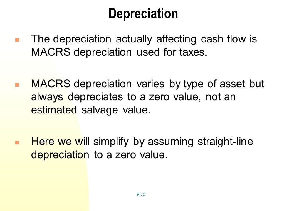 9-15 Depreciation The depreciation actually affecting cash flow is MACRS depreciation used for taxes. MACRS depreciation varies by type of asset but a