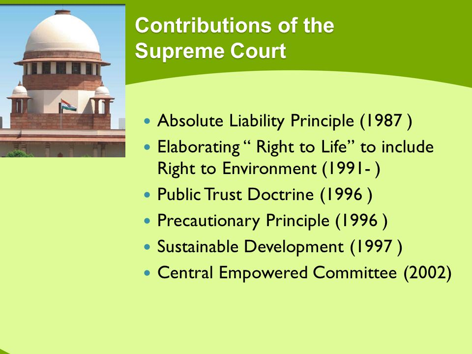 Contributions of the Supreme Court Absolute Liability Principle (1987 ) Elaborating Right to Life to include Right to Environment (1991- ) Public Trus