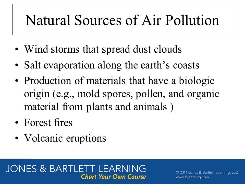 Natural Sources of Air Pollution Wind storms that spread dust clouds Salt evaporation along the earths coasts Production of materials that have a biol