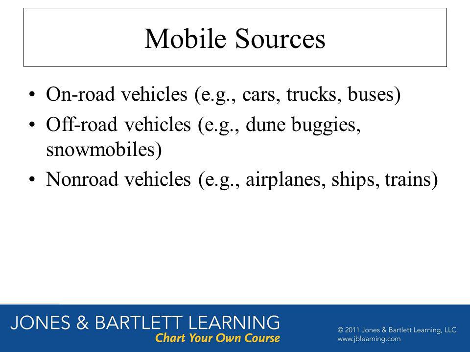 Mobile Sources On-road vehicles (e.g., cars, trucks, buses) Off-road vehicles (e.g., dune buggies, snowmobiles) Nonroad vehicles (e.g., airplanes, shi