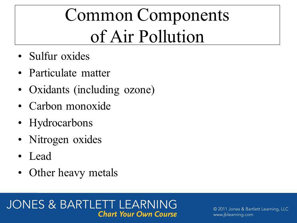 Common Components of Air Pollution Sulfur oxides Particulate matter Oxidants (including ozone) Carbon monoxide Hydrocarbons Nitrogen oxides Lead Other