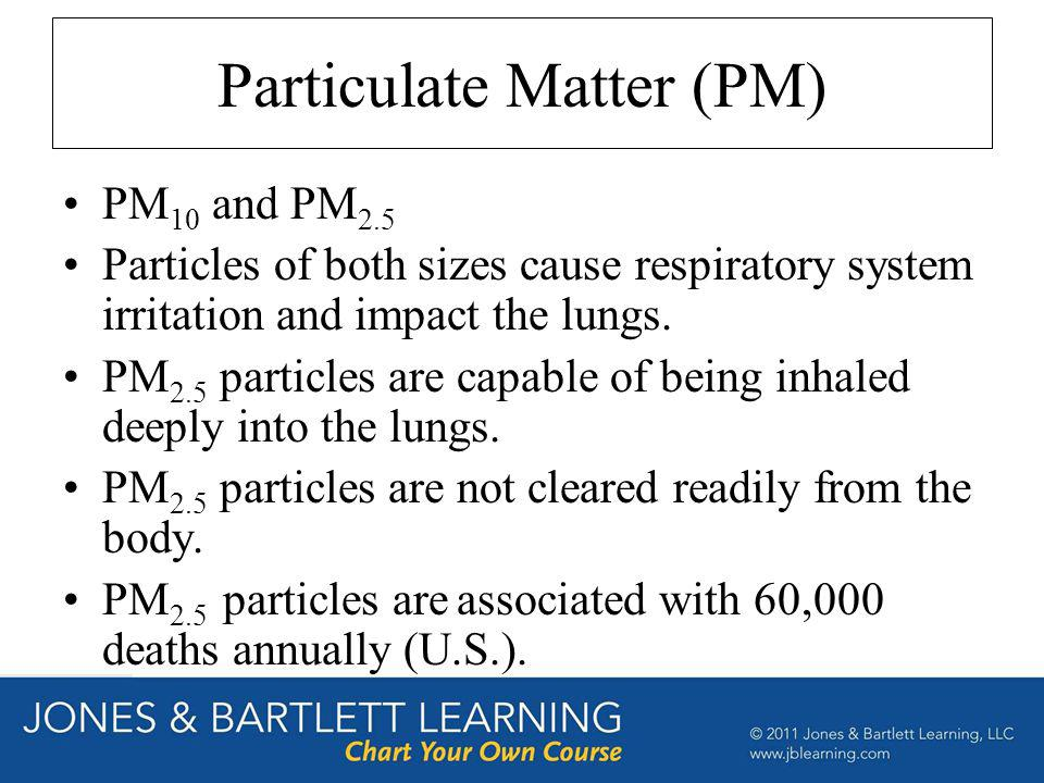 Particulate Matter (PM) PM 10 and PM 2.5 Particles of both sizes cause respiratory system irritation and impact the lungs. PM 2.5 particles are capabl