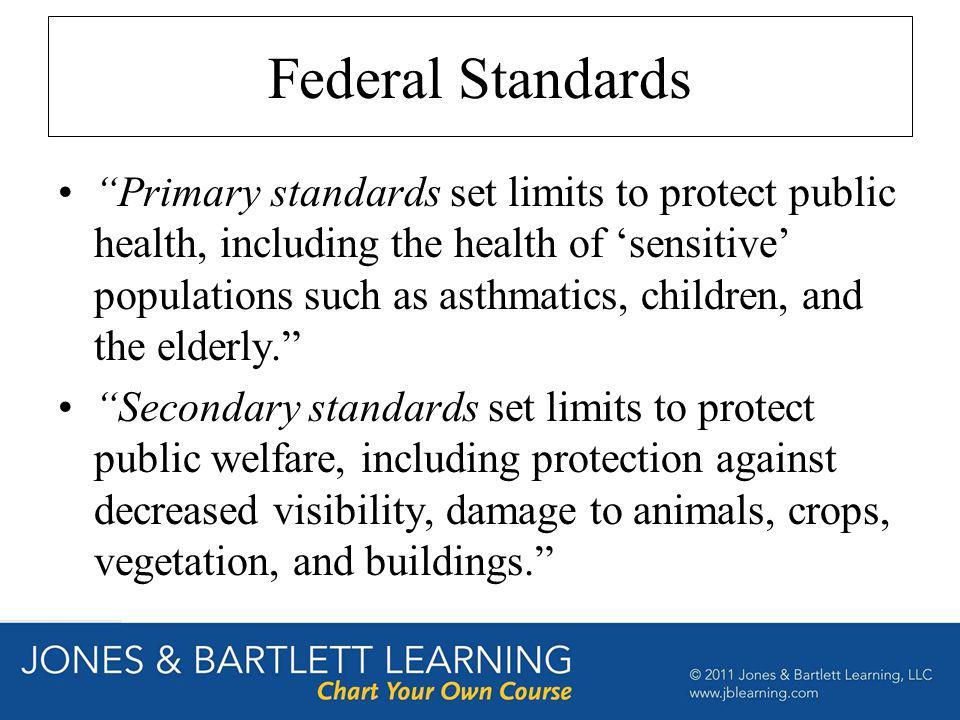 Federal Standards Primary standards set limits to protect public health, including the health of sensitive populations such as asthmatics, children, a