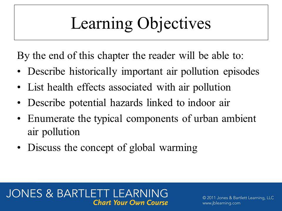 Learning Objectives By the end of this chapter the reader will be able to: Describe historically important air pollution episodes List health effects