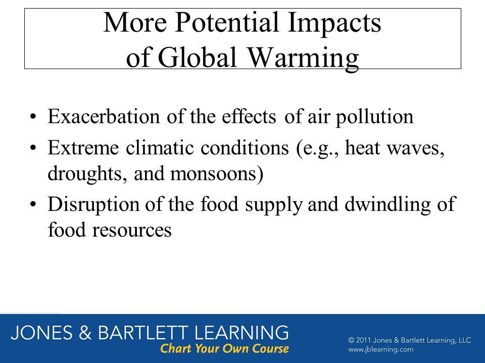 More Potential Impacts of Global Warming Exacerbation of the effects of air pollution Extreme climatic conditions (e.g., heat waves, droughts, and mon